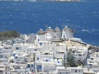 The four windmills that stand as an entry point into Mykonos Town