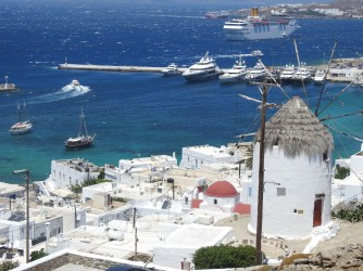 View of the port of Mykonos from above Mykonos Town.