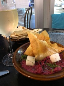 Beetroot Tahini with a glass of Pinot Grigio.